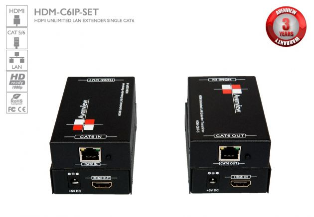 HDMI UNLIMITED LAN Extender Over Single CAT6 Avenview HDM-C6IP-SET