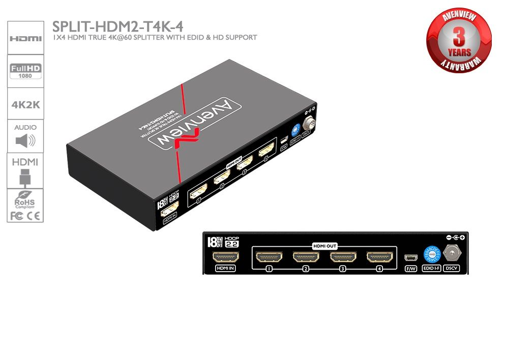Splitter HDMI 1x4 EDID e Support HD Avenview